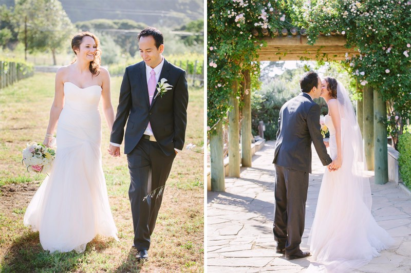 Bride and groom walking at their Bernardus Lodge Wedding in Carmel