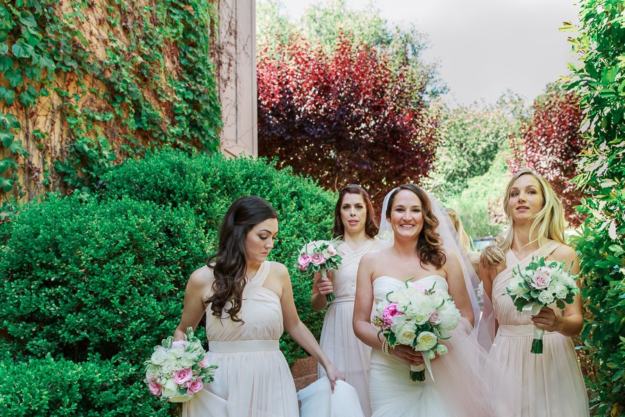 Bride and bridesmaids at Bernardus Lodge Wedding in Carmel