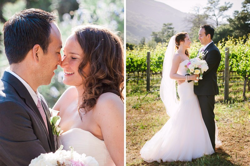 Bride and groom walking in vineyard at their Bernardus Lodge Wedding in Carmel