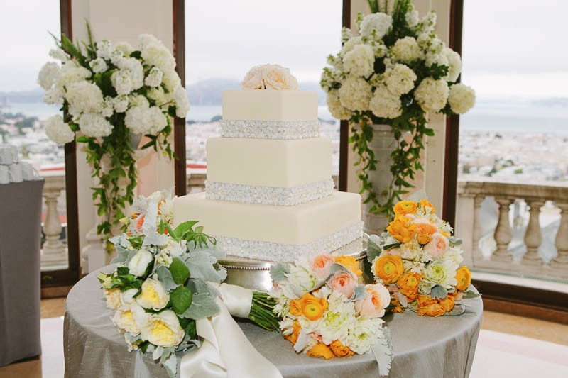Wedding cake and floral details at a San Francisco Flood Mansion wedding