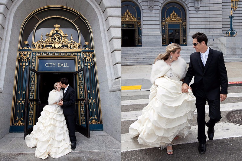 San Francisco City Hall wedding. Bride and groom walking in crosswalk.
