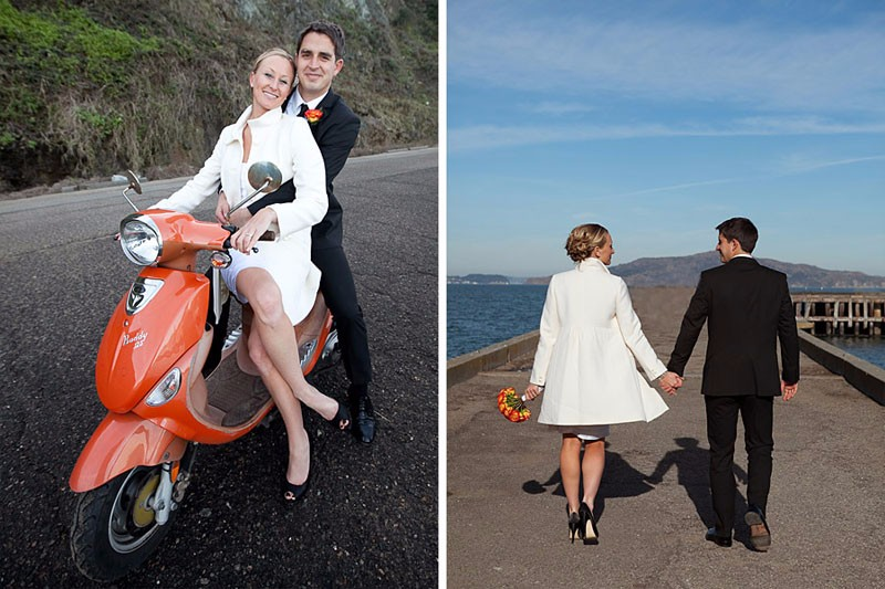 San Francisco City Hall wedding. Bride and groom riding a Vespa