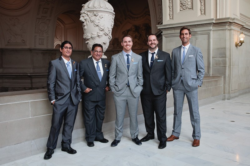 Groom and groomsmen on the Fourth Floor of SF City Hall