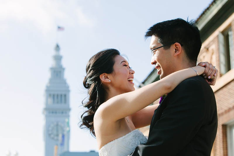 San Francisco City Hall wedding. Bride and groom on the Embarcadero.
