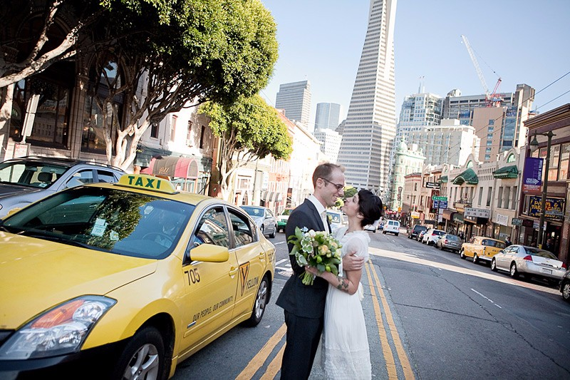 San Francisco City Hall wedding. Bride and groom in North Beach.