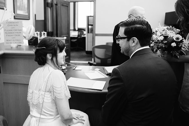 San Francisco City Hall wedding photo, bride and groom in the County Clerk's Office