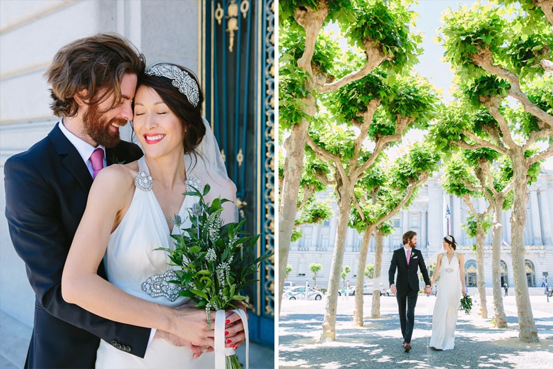 Bride and groom at their San Francisco City Hall wedding