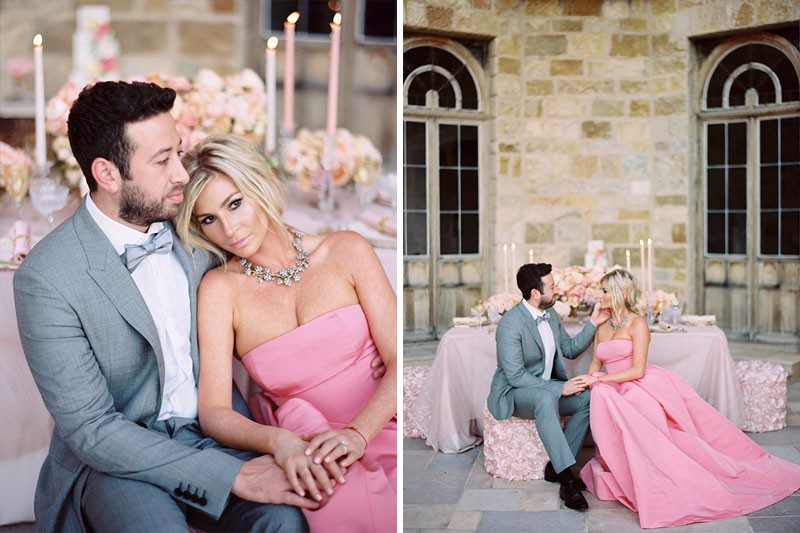 Bride and groom at their Sunstone Winery Wedding. Pink wedding dress. Fine art film photographer