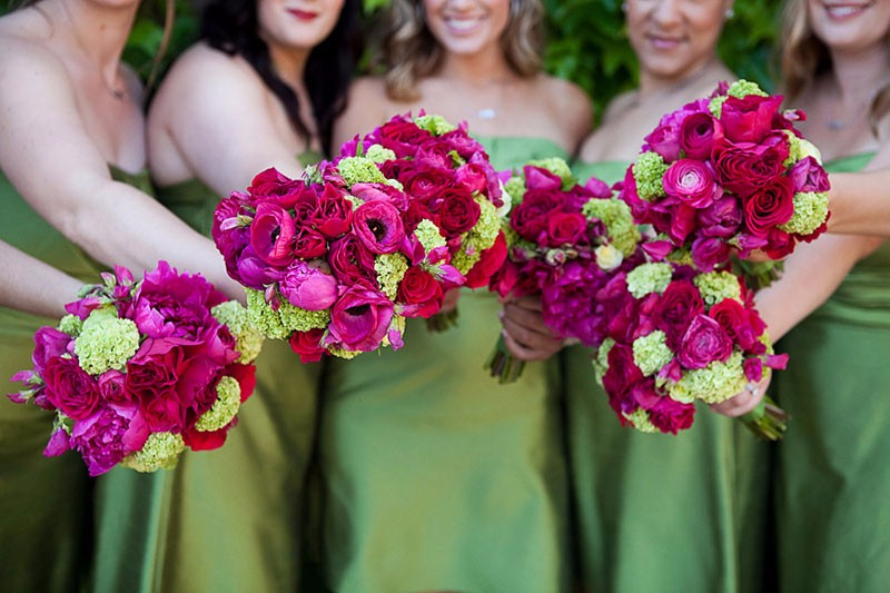 Pink and green bridesmaid bouquets at a Viansa Winery Wedding in Sonoma