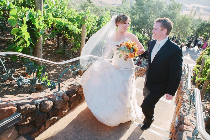 Bride and groom walking after their Viansa Sonoma wedding