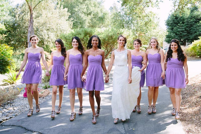 Bride walking with her bridesmaids at a Sonoma wedding