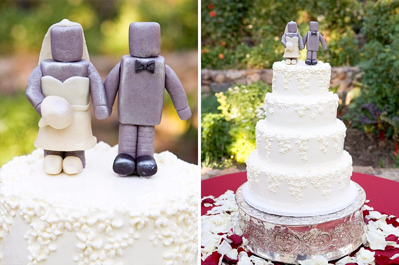Robot bride and groom cake toppers at Beltane Ranch wedding