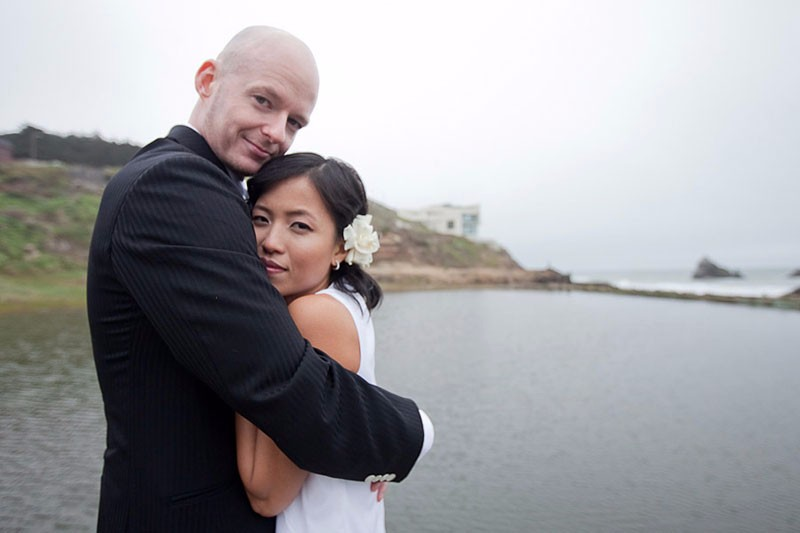 Bride and groom at Sutro Baths