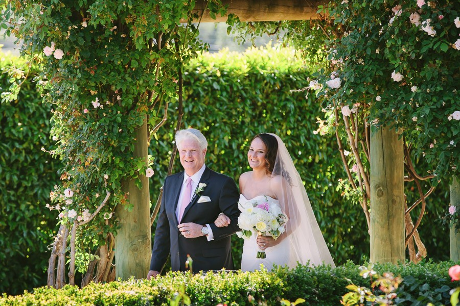 Bride and her father at Bernardus Lodge Wedding in Carmel