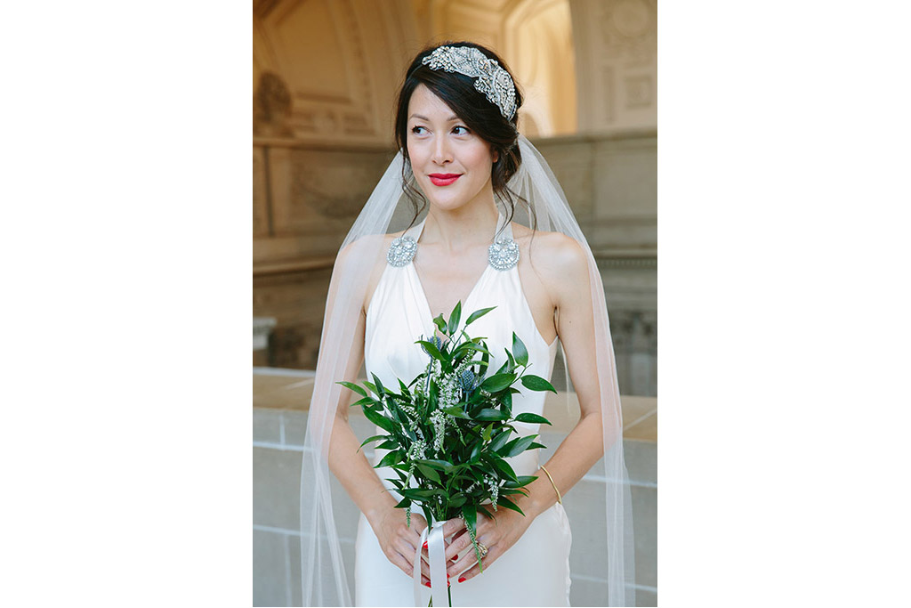 San Francisco City Hall Wedding Photographer. Art deco / 1930's / Great Gatsby style bridal look. Old Hollywood.